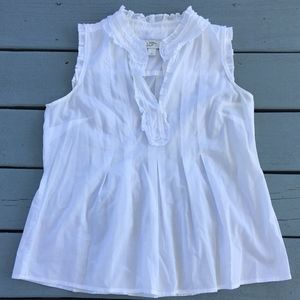 Ann Taylor LOFT Ruffled White Shirt
